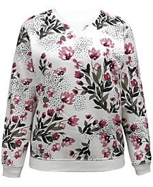 Petite Printed Fleece Crew Neck Sweatshirt, Created for Macy's
