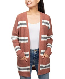 Juniors' Super-Soft Striped Cardigan