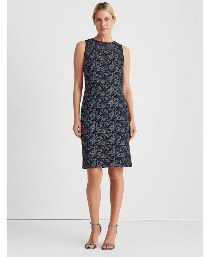 Lauren Ralph Lauren - Metallic Floral Embroidered Dress
