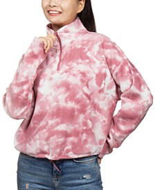 Juniors' Tie-Dyed Fleece Quarter-Zip