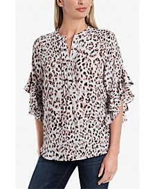 Women's Flutter Sleeve Pin Tuck Blouse