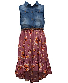 Big Girl Sleeveless Washed Denim Button Front Shirt Dress With Printed Founced High Low Crepe Skirt