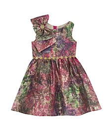 Toddler Girl Printed Jacquard Dress With Bow