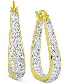 Crystal In & Out Teardrop Hoop Earrings in Fine Silver Plate, Gold-Plate or Rose Gold Plate