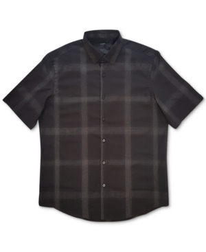 Alfani Men's Portland Metallic Plaid Woven Shirt, Created for Macy's