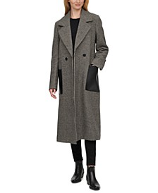 Faux-Leather-Pocket Houndstooth Maxi Coat