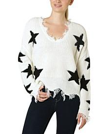 Juniors' Destructed Star Sweater