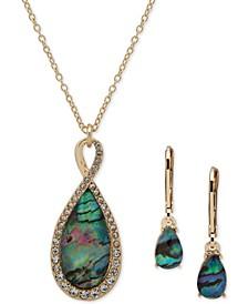 Gold-Tone Pavé & Stone Pendant Necklace & Drop Earrings Set