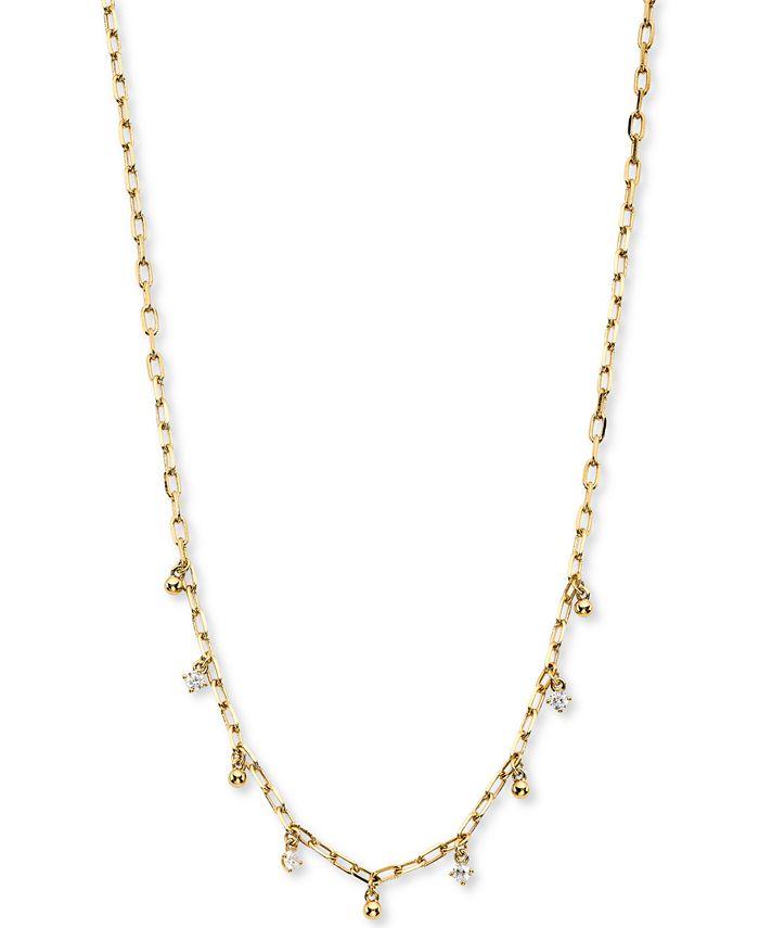 """AVA NADRI - Cubic Zirconia & Bead Shaky Charm Necklace, 14"""" + 1"""" extender"""