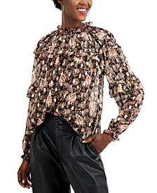 INC Ruffled Floral-Print Blouse, Created for Macy's