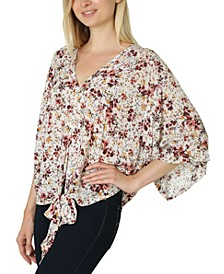 Juniors' Oversized Tie-Front Blouse