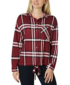 Juniors' Tie-Front Cozy Plaid Shirt