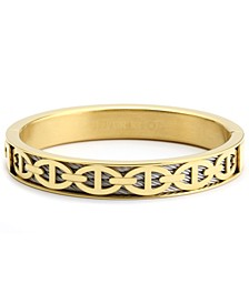 Link Cable Inlay Bangle Bracelet in Stainless Steel & 18K Gold PVD Stainless Steel