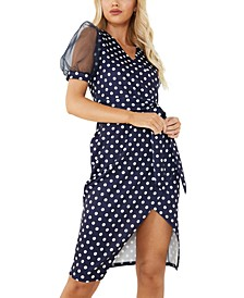 Polka-Dot Faux Wrap Dress