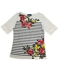Plus Size Floral-Print Striped Top, Created for Macy's