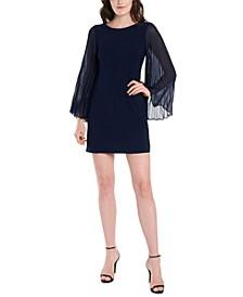 Petite Pleated-Sleeve Sheath Dress