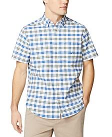 Men's Classic-Fit Stretch Plaid Oxford Shirt