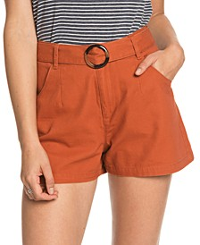 Juniors' Trust And Smile Cotton Belted Shorts