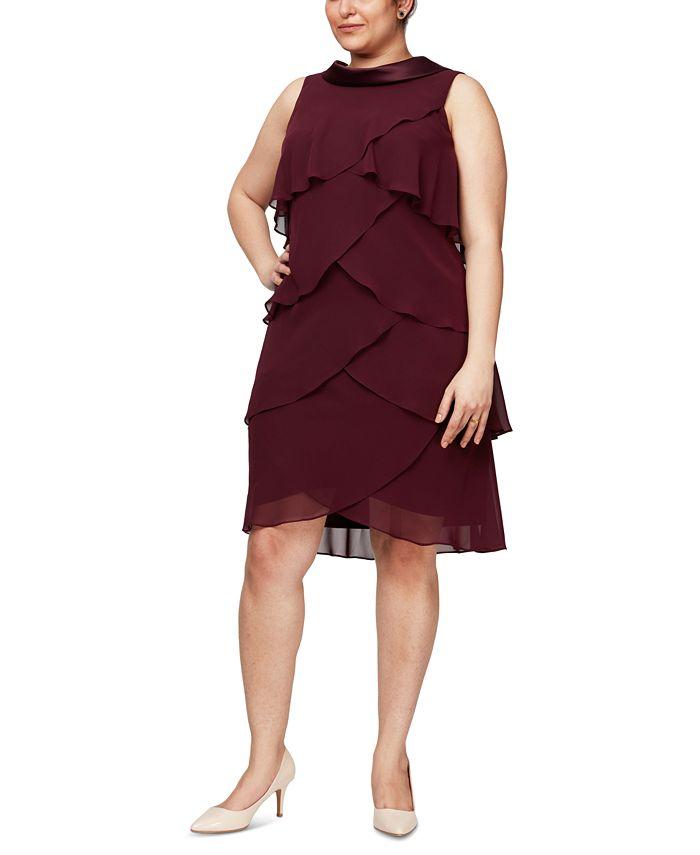 SL Fashions - Plus Size Tiered Chiffon Dress