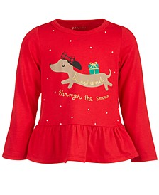 Toddler Girls Dachshund Peplum Cotton T-Shirt, Created for Macy's