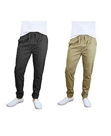 Men's Basic Stretch Twill Joggers, Pack of 2