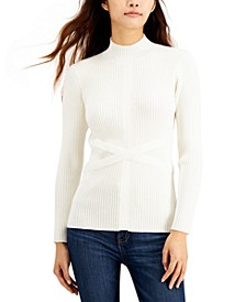 Mock-Neck Bandage Sweater
