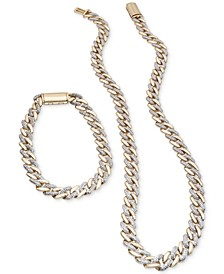 Men's Diamond Curb Link Necklace and Bracelet Collection in 10k Gold