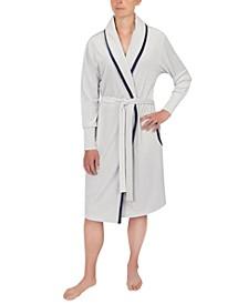 Contrast-Trim Wrap Robe