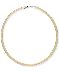 14k Gold and Sterling Silver Necklace, Two-Tone Reversible Omega