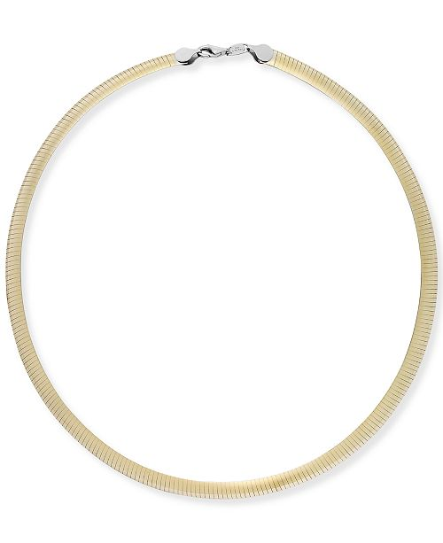 811990b7a Macy's 14k Gold and Sterling Silver Necklace, Two-Tone Reversible ...