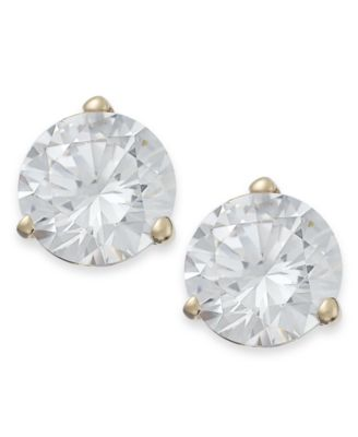 14k Gold Earrings, Swarovski Zirconia Stud Earrings (7mm)