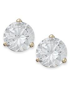 14k Gold Earrings, Swarovski Zirconia Stud Earrings (7mm)