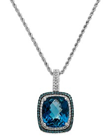 14k White Gold London Blue Topaz (13-1/2 ct. t.w.) and Blue and White Diamond (1/2 ct. t.w.) Necklace