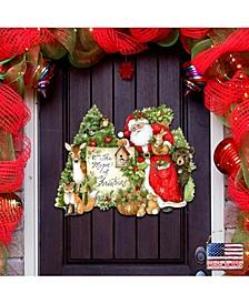 by Susan Winget Woodland Playing Santa Wall and Door Decor