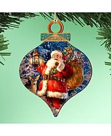 by Dona Gelsinger Woodland Santa Ornament, Set of 2