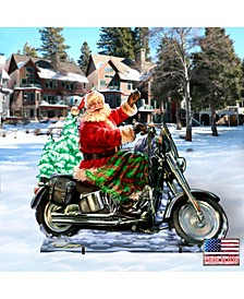 by Dona Gelsinger Santa Motorcycle Rider Home and Outdoor Decor
