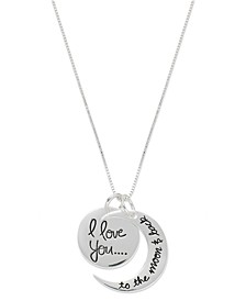 "Sterling Silver Necklace, ""Love You to the Moon"" Charm Pendant"
