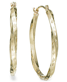 Textured Twisted Hoop Earrings in 10k Gold