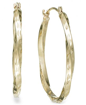 Textured Twisted Hoop Earrings in 10k Gold Earrings Jewelry
