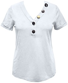 Petite Button-Front Top, Created for Macy's