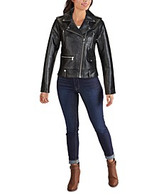 Embossed Croc Faux-Leather Moto Jacket, Created for Macy's