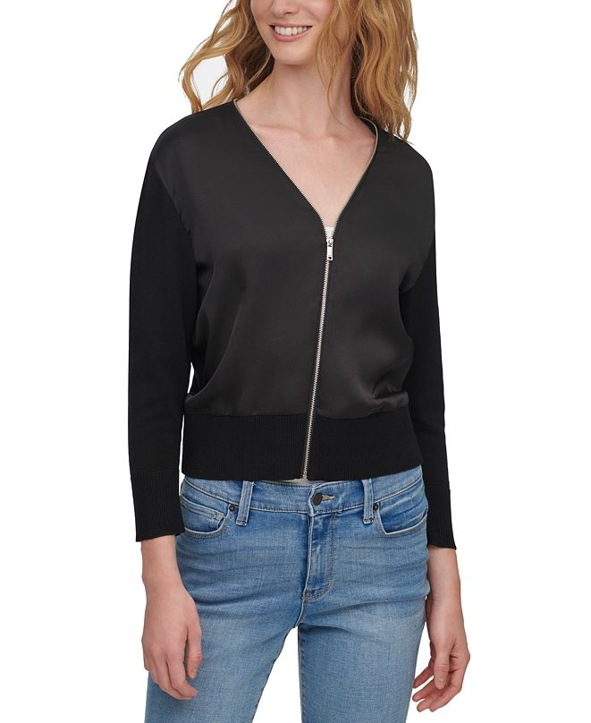 DKNY Mixed-Media Cropped Zip-Front Sweater
