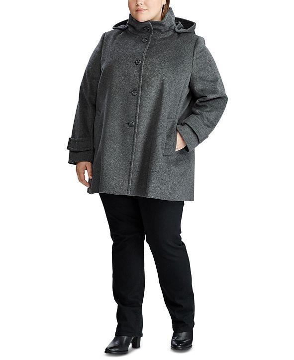Lauren Ralph Lauren Plus-Size Wool-Blend Hooded Coat, Created for Macy's