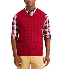 Men's Cable-Knit Cotton Sweater Vest, Created for Macy's