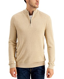 Men's Quarter-Zip Cotton Sweater, Created for Macy's