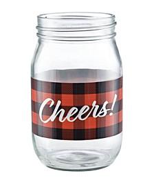 Cheers Buffalo Plaid Jar Glass, Set of 4