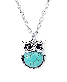 Simulated Turquoise Fine Silver Plated Owl Pendant Necklace