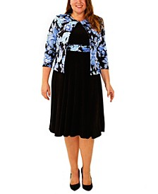 Plus Size 3/4 Sleeve Jacket and Solid Dress