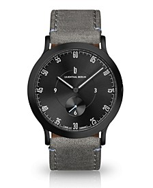L1 All Gray Leather Strap Watch, 37.5mm