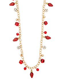 "Gold-Tone Crystal & Bead Jingle Bell 36"" Statement Necklace, Created for Macy's"